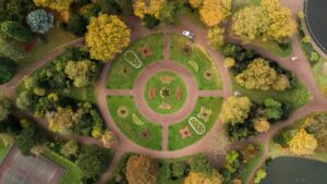 Bird's-eye view on park evoking wellbeing and green economy